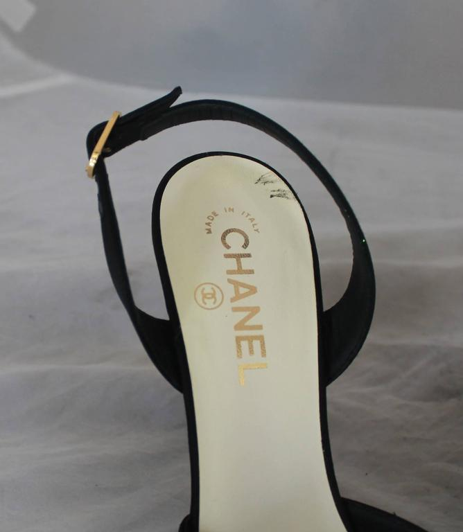 Chanel Black & Ivory Satin Open-Toe Sling Back Sandals w/ Front Bow - 40 4