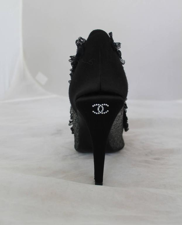 Chanel Black Sheer Lace & Satin Pump w/ Ruffle Lace Trim - 40 4