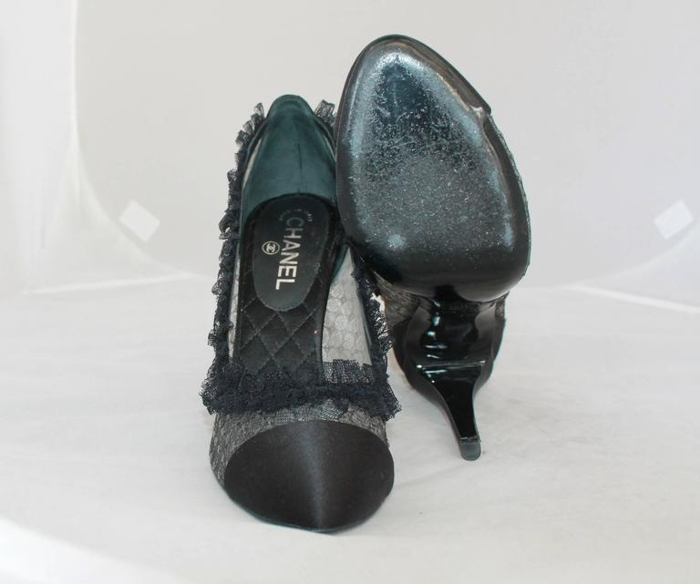 Chanel Black Sheer Lace & Satin Pump w/ Ruffle Lace Trim - 40 For Sale 1