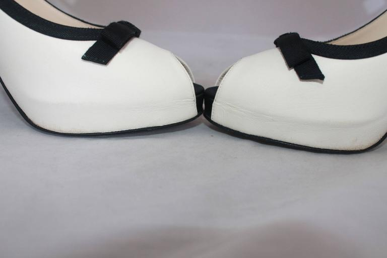 Women's Chanel Ivory & Black Lambskin Peep Toe Pumps w/ Black Ribbon Trim - 40. For Sale