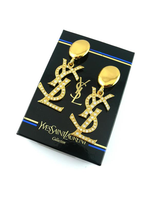 Yves Saint Laurent YSL Vintage Rare Massive Iconic Crystal Logo Earrings In Excellent Condition For Sale In French Riviera, FR