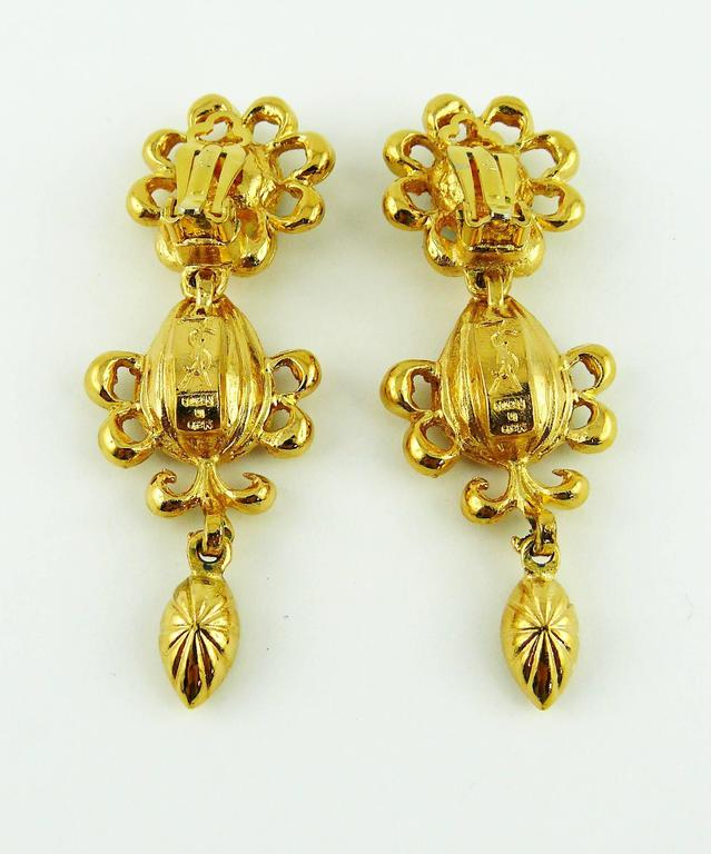 Women's Yves Saint Laurent YSL Vintage Jewelled Dangling Earrings For Sale