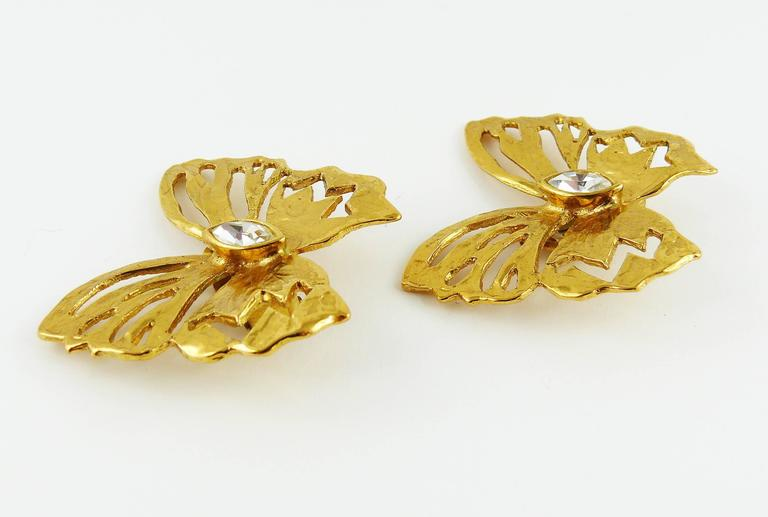 Yves Saint Laurent YSL Jewelled Butterfly Clip-On Earrings In Excellent Condition For Sale In Nice, FR