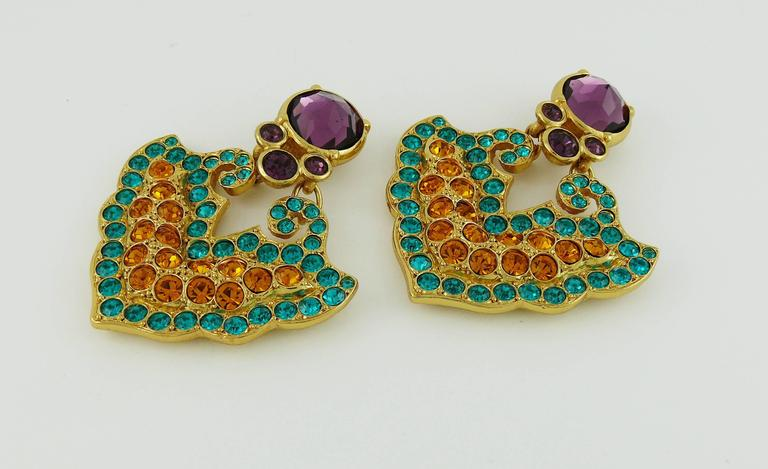 Yves Saint Laurent YSL Vintage Rare Opulent Mykonos Heart Dangling Earrings In Excellent Condition For Sale In French Riviera, Cote d'Azur