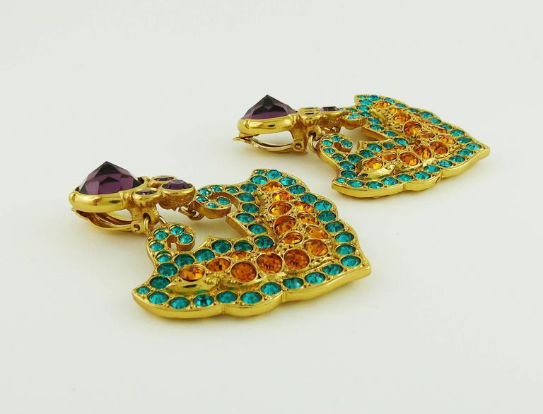 Women's Yves Saint Laurent YSL Vintage Rare Opulent Mykonos Heart Dangling Earrings For Sale