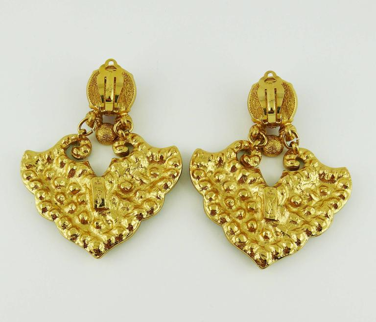 Yves Saint Laurent YSL Vintage Rare Opulent Mykonos Heart Dangling Earrings For Sale 2