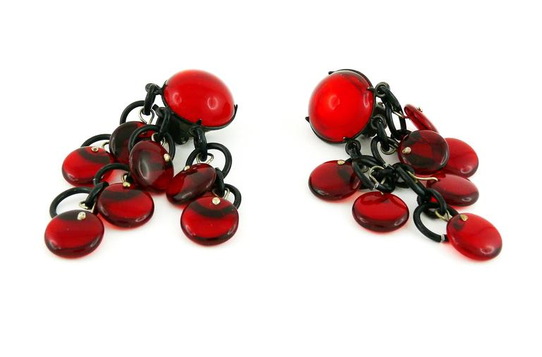 Paco Rabanne Vintage Red Glass and Metal Dangling Earrings 3
