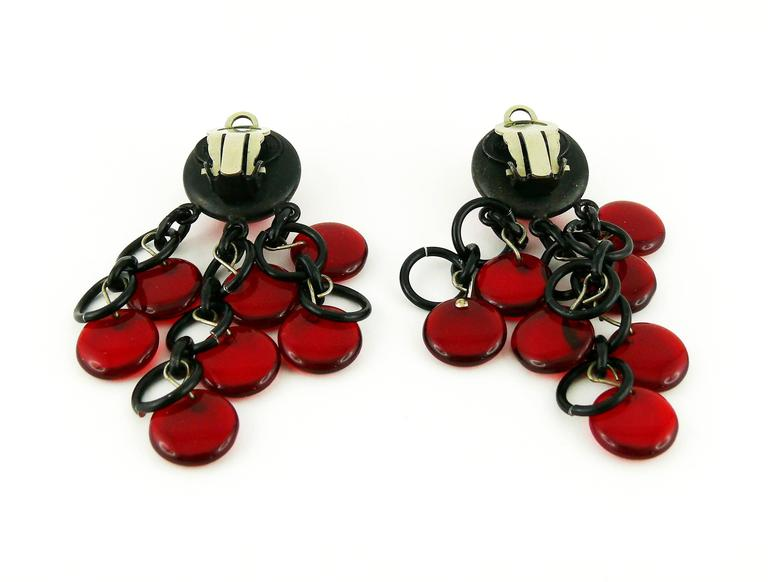Paco Rabanne Vintage Red Glass and Metal Dangling Earrings 4