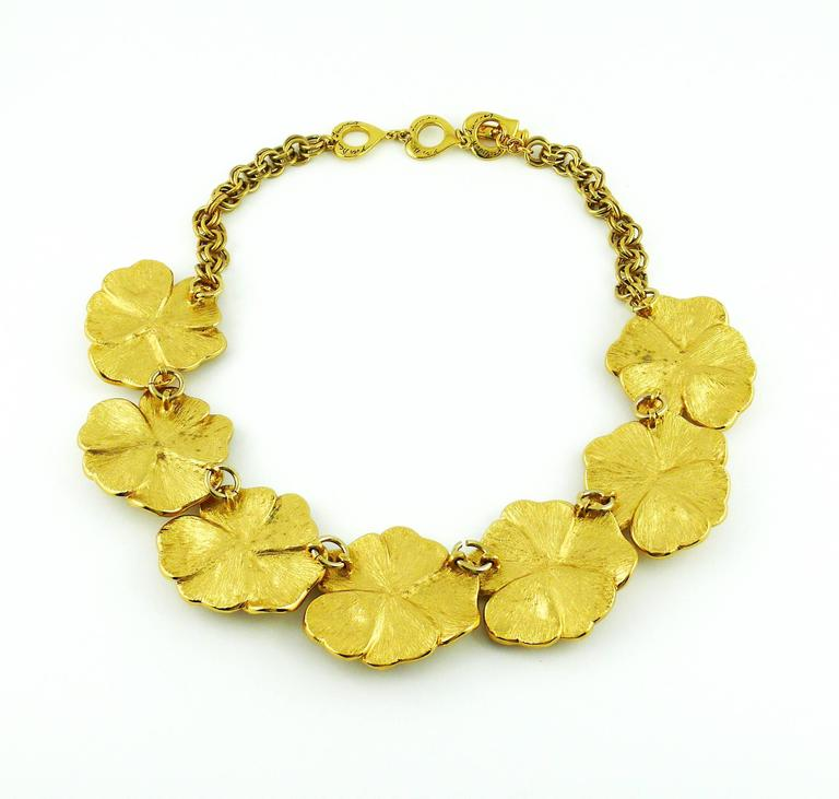 Yves Saint Laurent YSL Jewelled Gold Tone Pansy Necklace For Sale 1