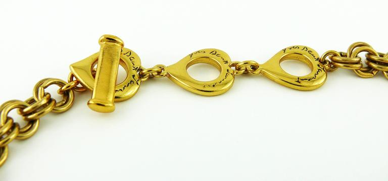 Yves Saint Laurent YSL Jewelled Gold Tone Pansy Necklace For Sale 2