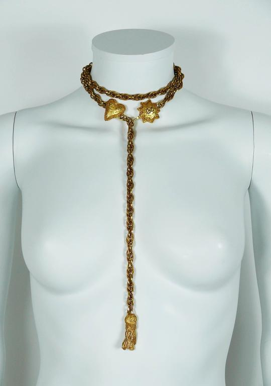 Christian Lacroix Vintage Chain Belt/Necklace Heart, Sun and Tassel For Sale 1