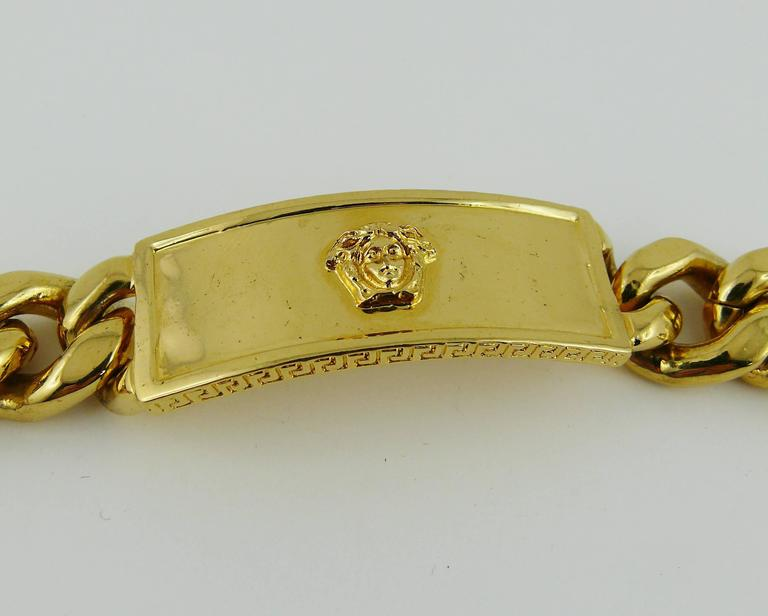 Gianni Versace Vintage Men S Gold Tone Curb Bracelet Medusa In Excellent Condition For French