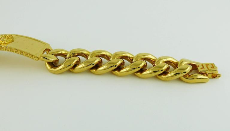 90c2458097ab Gianni Versace Vintage Men s Gold Tone Curb Bracelet Medusa at 1stdibs