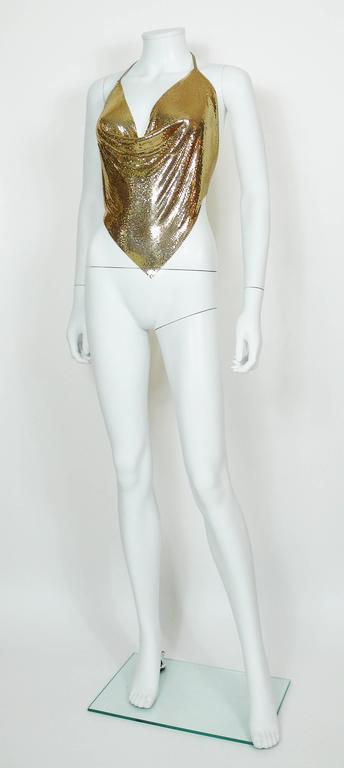 Diamant Noir Paris Vintage 1980s Disco Gold Metal Mesh Halter Top 6