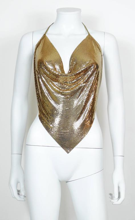 Diamant Noir Paris Vintage 1980s Disco Gold Metal Mesh Halter Top 5