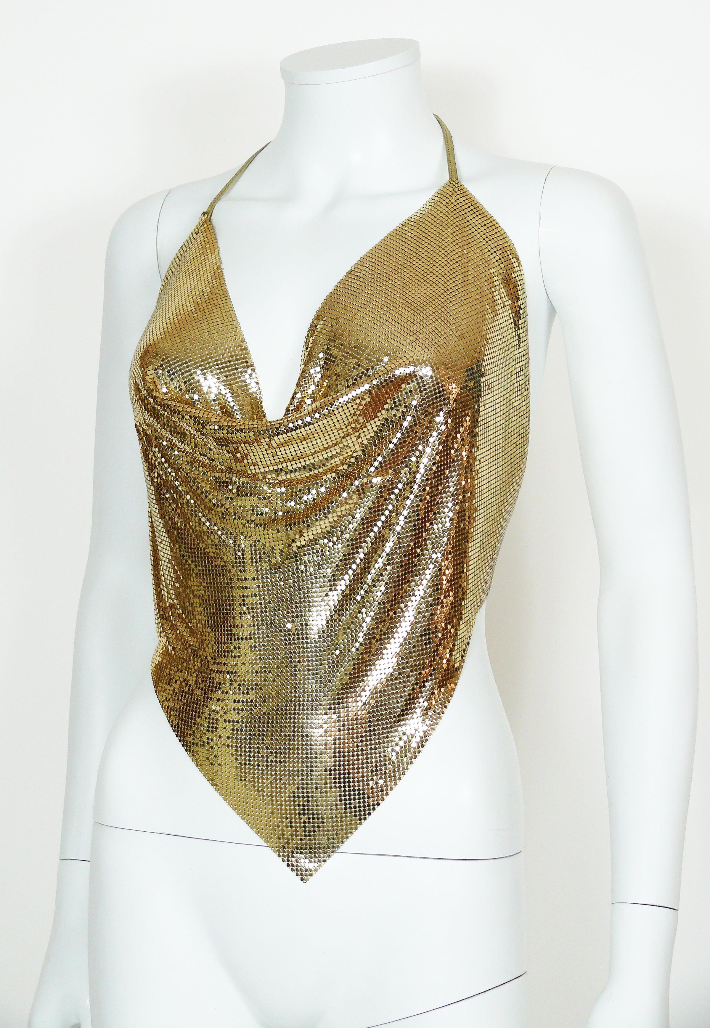 4049318e77c2b Diamant Noir Paris Vintage 1980s Disco Gold Metal Mesh Halter Top For Sale  at 1stdibs