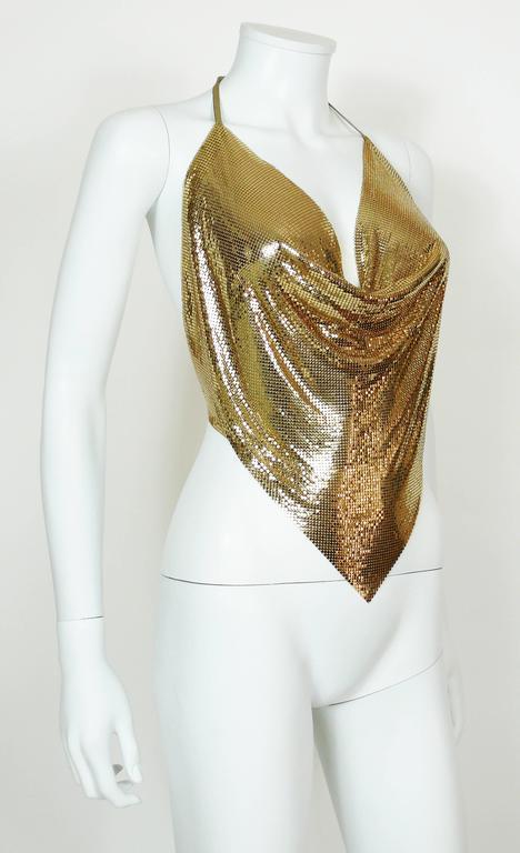 Diamant Noir Paris Vintage 1980s Disco Gold Metal Mesh Halter Top 3