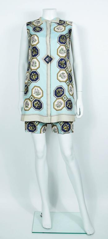 "Hermes Vintage ""Flora Botanica"" Silk Print Blouse and Shorts Set 3"