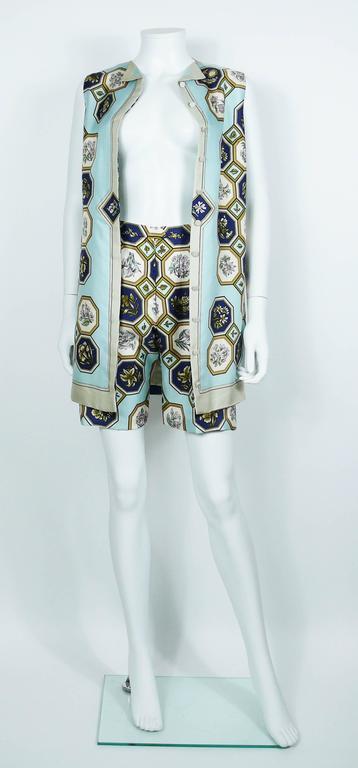 "Hermes Vintage ""Flora Botanica"" Silk Print Blouse and Shorts Set 4"