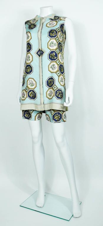"Hermes Vintage ""Flora Botanica"" Silk Print Blouse and Shorts Set 5"