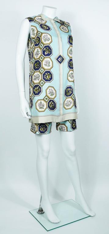 "Hermes Vintage ""Flora Botanica"" Silk Print Blouse and Shorts Set 2"