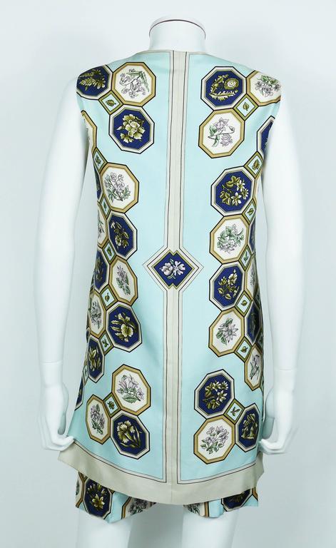 "Hermes Vintage ""Flora Botanica"" Silk Print Blouse and Shorts Set 6"