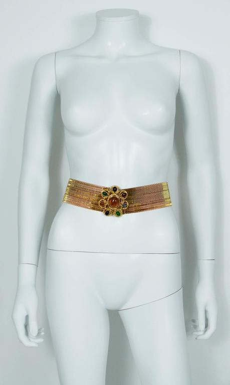 Chanel Vintage Museum Quality Gold Tone High Waist Belt with Gripoix Buckle For Sale 1