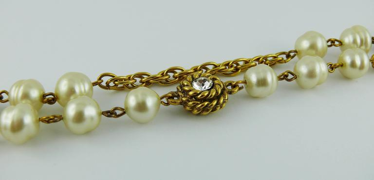 Chanel Vintage 1980s Classic Pearl and Crystal Sautoir Necklace 4