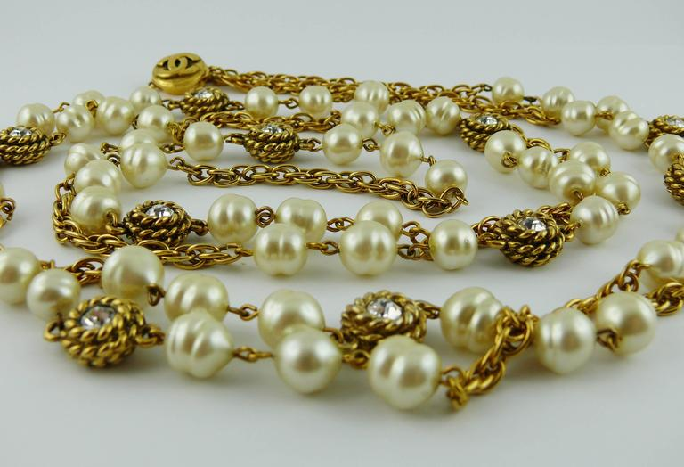 Chanel Vintage 1980s Classic Pearl and Crystal Sautoir Necklace 6