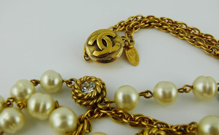 Chanel Vintage 1980s Classic Pearl and Crystal Sautoir Necklace 7