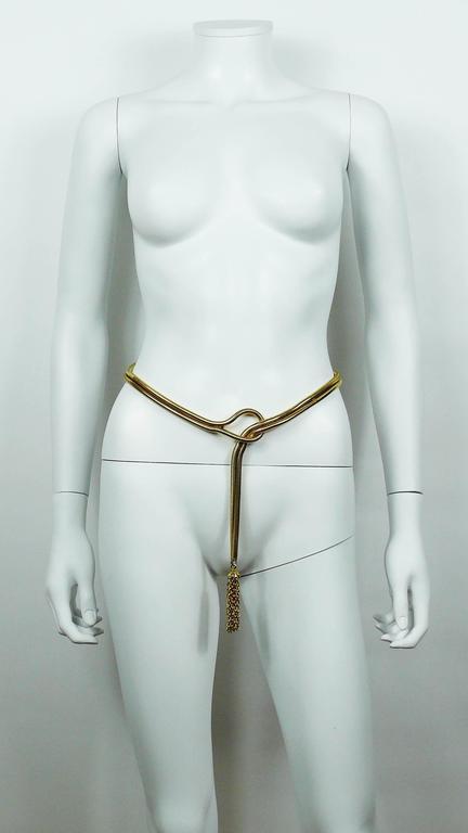Brown Christian Dior Vintage Gold Toned Lariat Snake Chain Belt For Sale