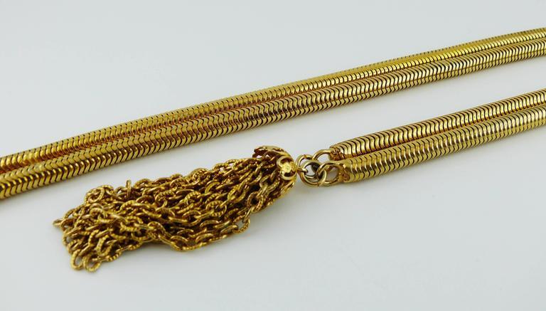 Christian Dior Vintage Gold Toned Lariat Snake Chain Belt For Sale 1