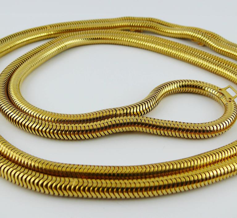 Christian Dior Vintage Gold Toned Lariat Snake Chain Belt In Excellent Condition For Sale In French Riviera, FR