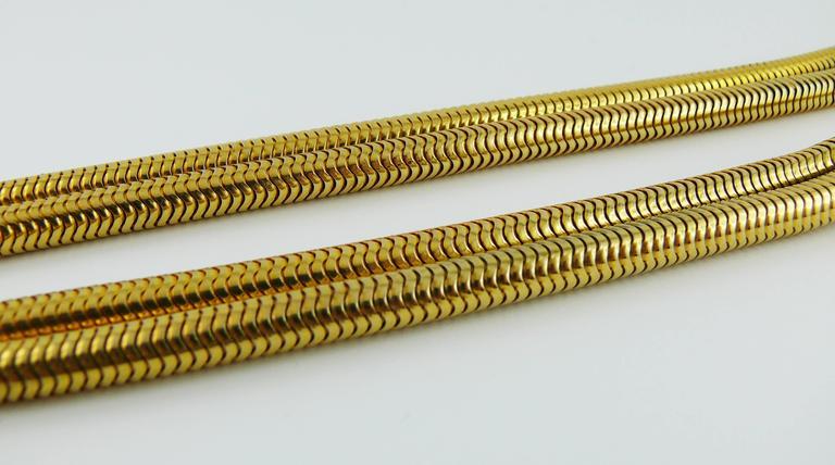 Women's Christian Dior Vintage Gold Toned Lariat Snake Chain Belt For Sale