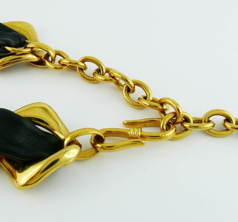 Yves Saint Laurent YSL Vintage Leather and Chain Belt 7