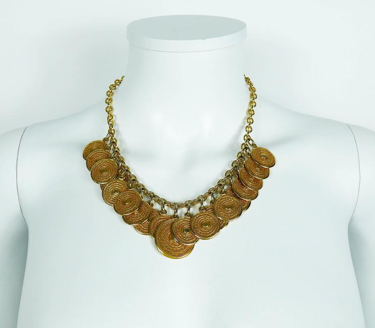 Yves Saint Laurent YSL Vintage Gold Toned Gypsy Coin Necklace 5