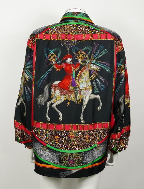 "Hermes Vintage Rare ""Feux d'Artifice"" 150th Anniversary Silk Shirt Blouse 5"