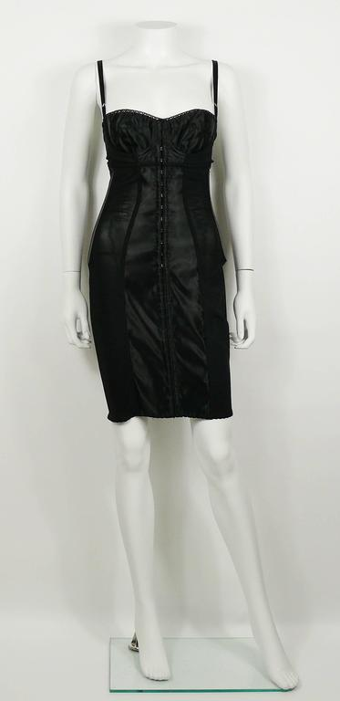 Dolce & Gabbana Black Lingerie Corset Bustier Dress In Good Condition For Sale In French Riviera, FR