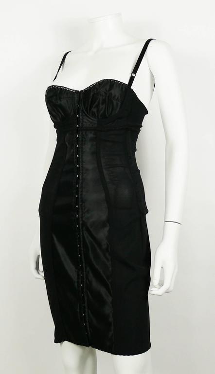 Women's Dolce & Gabbana Black Lingerie Corset Bustier Dress For Sale