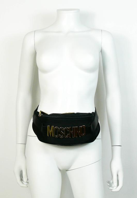 Moschino by Redwall Vintage 1990s Black Fanny Pack 4