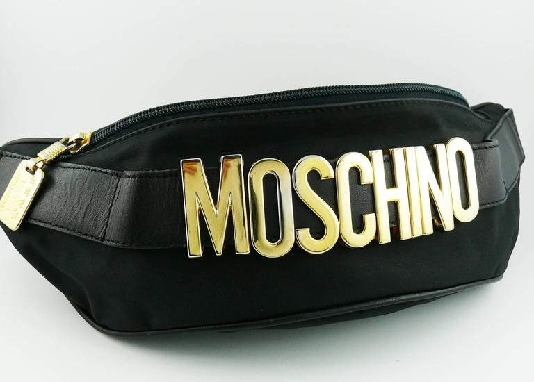 Moschino By Redwall Vintage 1990s Black Fanny Pack At 1stdibs