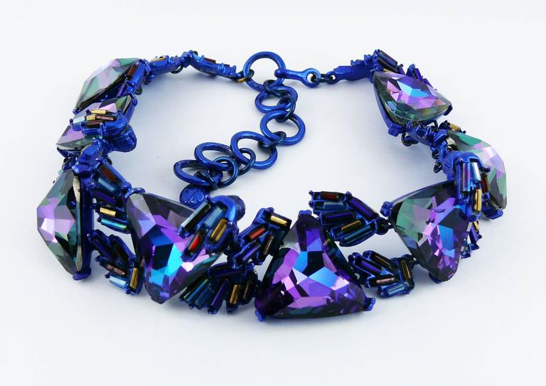CHRISTIAN LACROIX vintage choker necklace featuring massive purple crystals with iridescent rocaille beads.  Hook clasp. Extension chain.  Marked CHRISTIAN LACROIX CL Made in France.  Indicative measurements : max. length approx. 40 cm (15.75