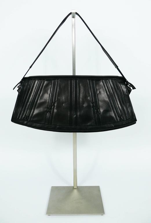 Jean Paul Gaultier Vintage Black Lambskin Corset Bag Clutch For Sale 3