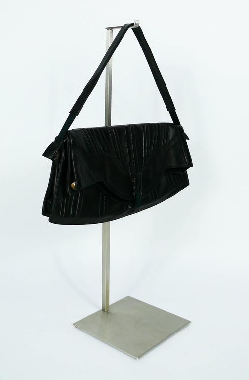 Jean Paul Gaultier Vintage Black Lambskin Corset Bag Clutch In Excellent Condition For Sale In Nice, FR