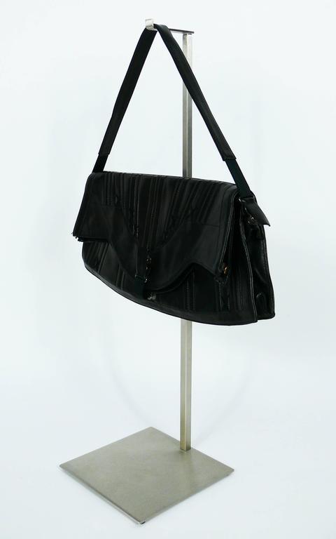 Jean Paul Gaultier Vintage Black Lambskin Corset Bag Clutch For Sale 1