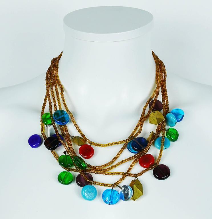 Women's Yves Saint Laurent YSL Vintage Rare Pate de Verre Multi Strand Necklace For Sale