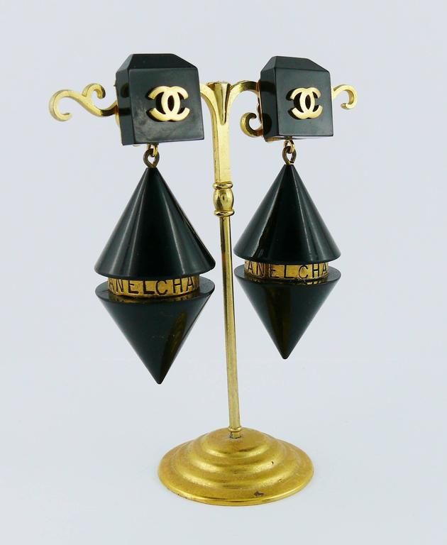 Chanel Vintage Rare Cylindrical Black Lucite and Logo Dangling Earrings 2
