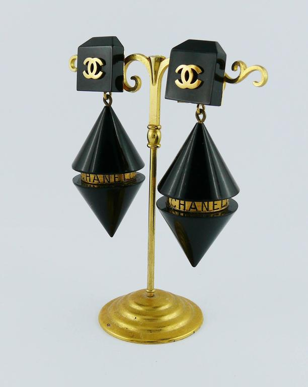 Chanel Vintage Rare Cylindrical Black Lucite and Logo Dangling Earrings 4