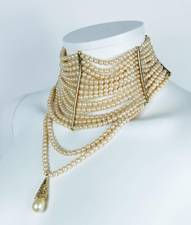 Christian Dior Iconic Multi Strand Edwardian Inspired Pearl Choker Necklace 4