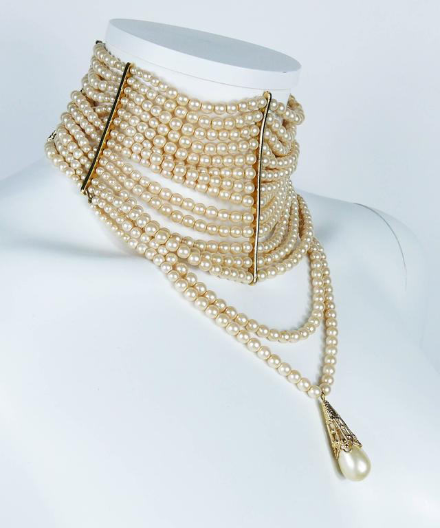 Christian Dior Iconic Multi Strand Edwardian Inspired Pearl Choker Necklace 2